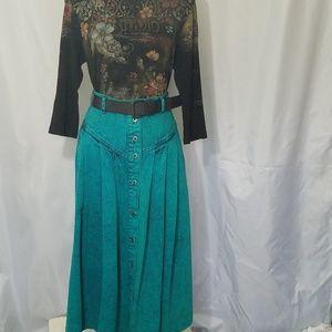 Vtg Sundance Denim Maxi Blue Button Front Skirt